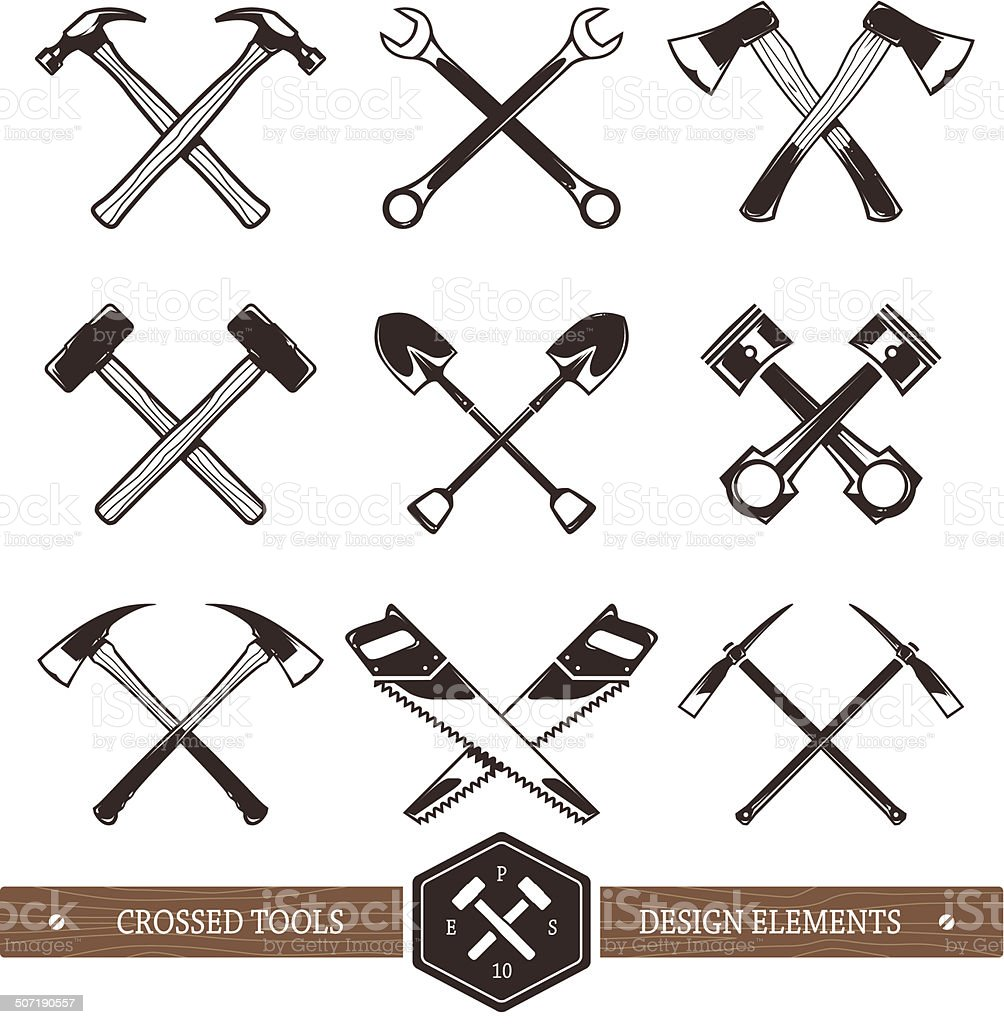 Crossed Work Tools vector art illustration