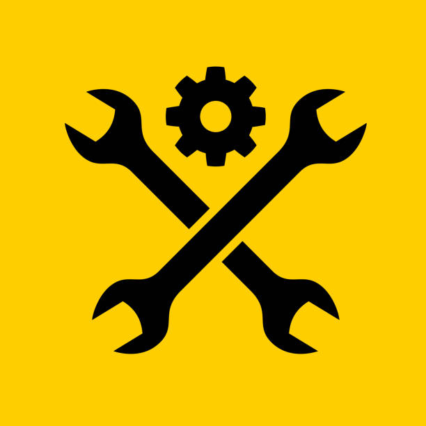 Crossed Wrench Icon vector art illustration