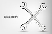 crossed wrenches. vector illustration