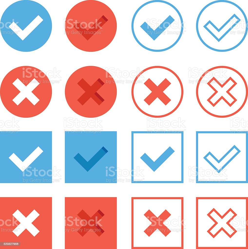 Crosses and check marks icons set. Red blue web buttons vector art illustration