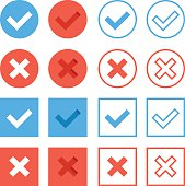 Crosses and check marks icons set. Red blue web buttons