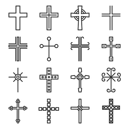 Crosses Icons Set on White Background. Line Style Vector