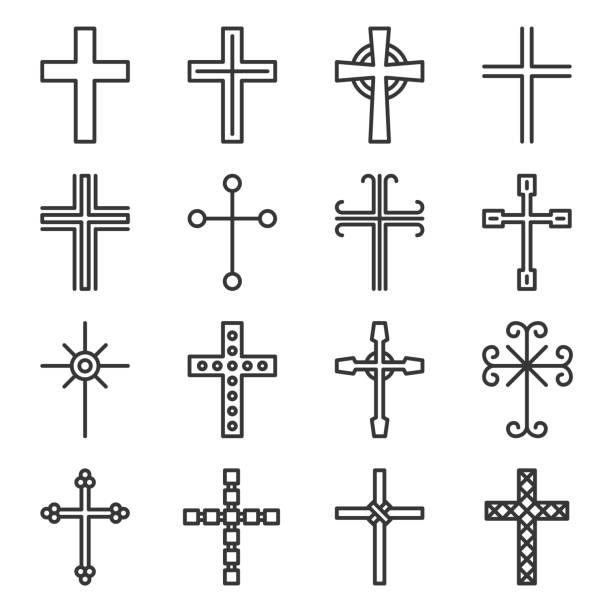 Crosses Icons Set on White Background. Line Style Vector Crosses Icons Set on White Background. Line Style Vector illustration place of worship stock illustrations