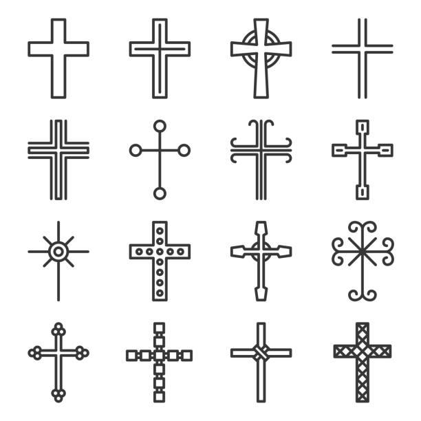 Crosses Icons Set on White Background. Line Style Vector Crosses Icons Set on White Background. Line Style Vector illustration religious cross stock illustrations