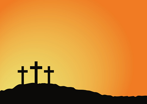 Crosses Of Calvary With Victory Sunrise Background