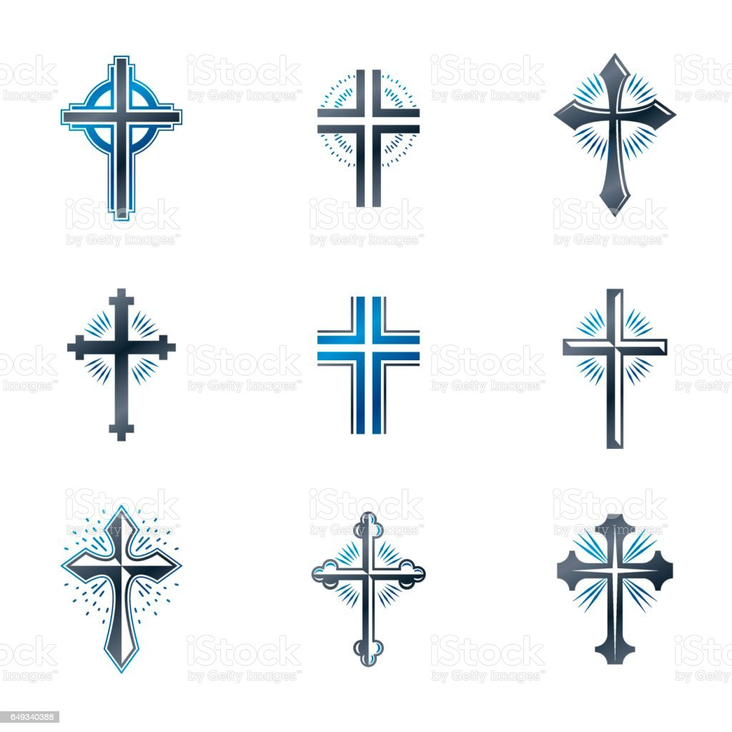 Crosses of Christianity emblems set. Heraldic vector design elements collection. Retro style label, heraldry logo. vector art illustration