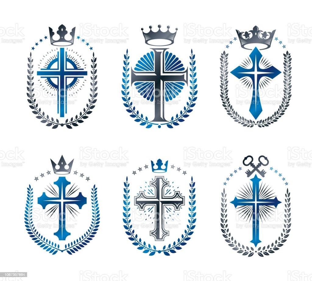 Cruzes de emblemas de cristianismo religião definida. Heráldica brasão decorativo assina coleção de ilustrações vetor isoladas. - ilustração de arte em vetor