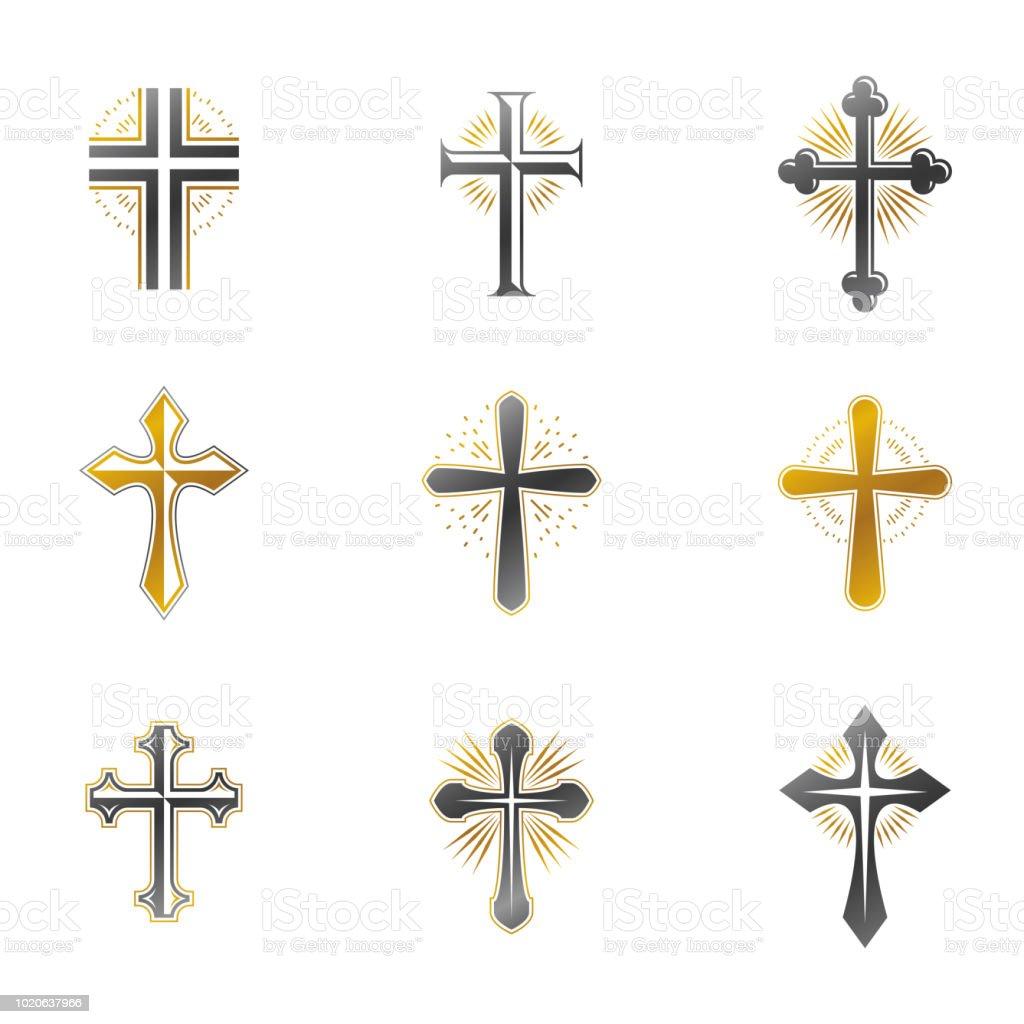 Atravessa o conjunto de emblemas religiosos. Heráldica brasão, vetor vintage assina coleção. - ilustração de arte em vetor