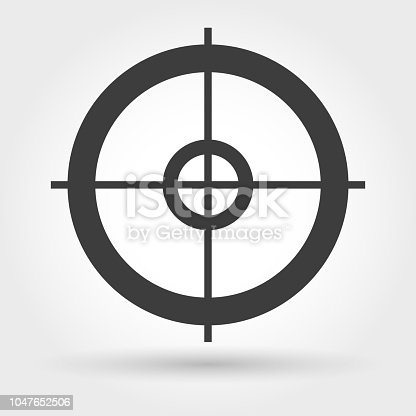 Crosshair icon. Vector small sniper weapon aiming sign
