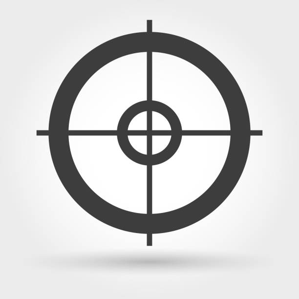 Crosshair icon on white Crosshair icon. Vector small sniper weapon aiming sign sports target stock illustrations