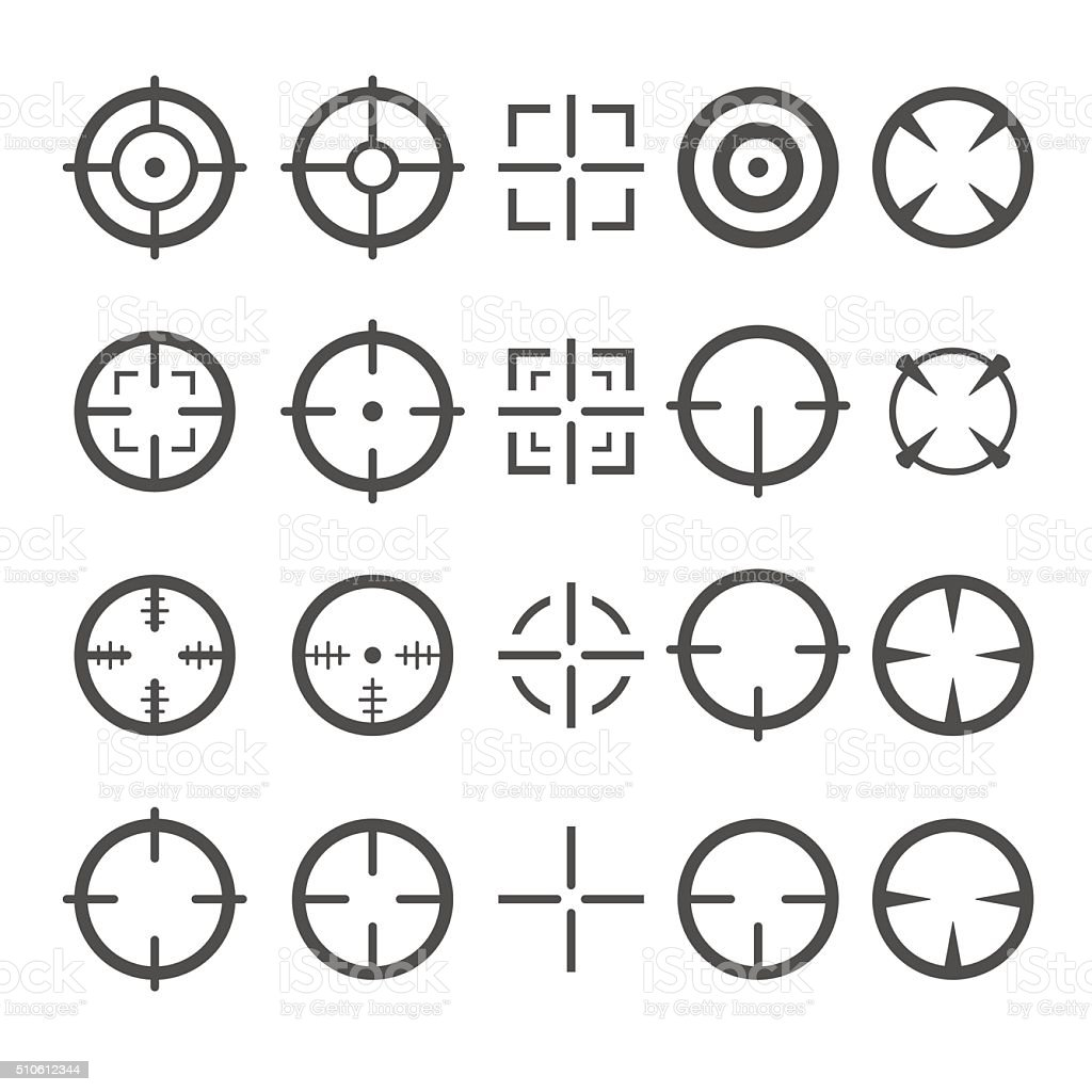 Crosshair Icon Set. Target Mouse Cursor Pointers. Vector