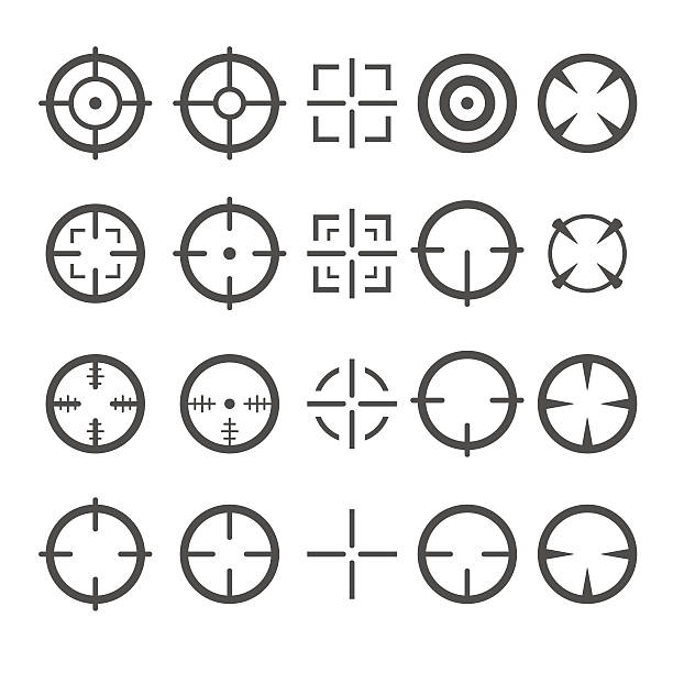 stockillustraties, clipart, cartoons en iconen met crosshair icon set. target mouse cursor pointers. vector - gun shooting