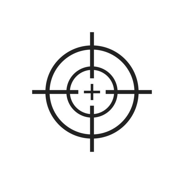 Crosshair icon vector design illustration isolated on white background Beautiful vector design illustration of crosshair icon islated on white background sports target stock illustrations