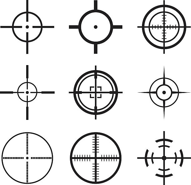 stockillustraties, clipart, cartoons en iconen met crosshair icons set - gun shooting
