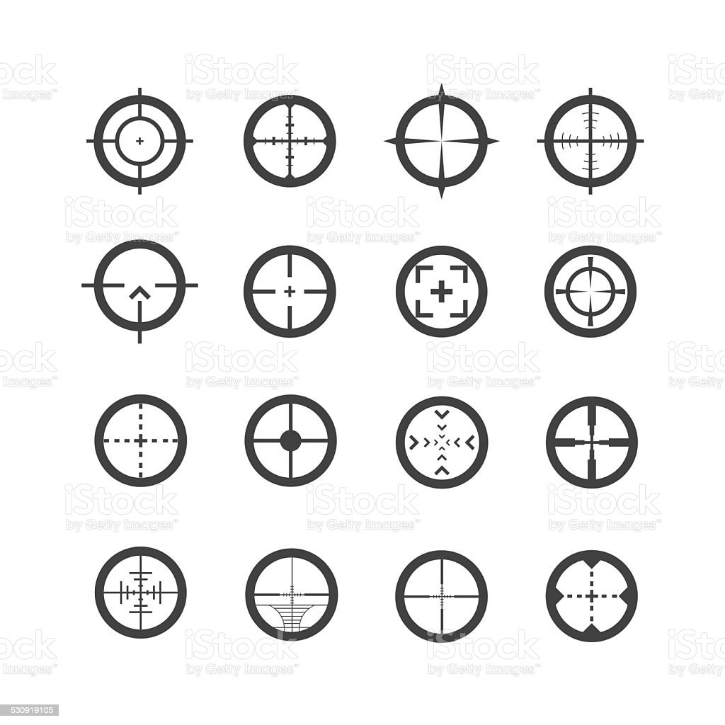 Crosshair Icons Set vector art illustration