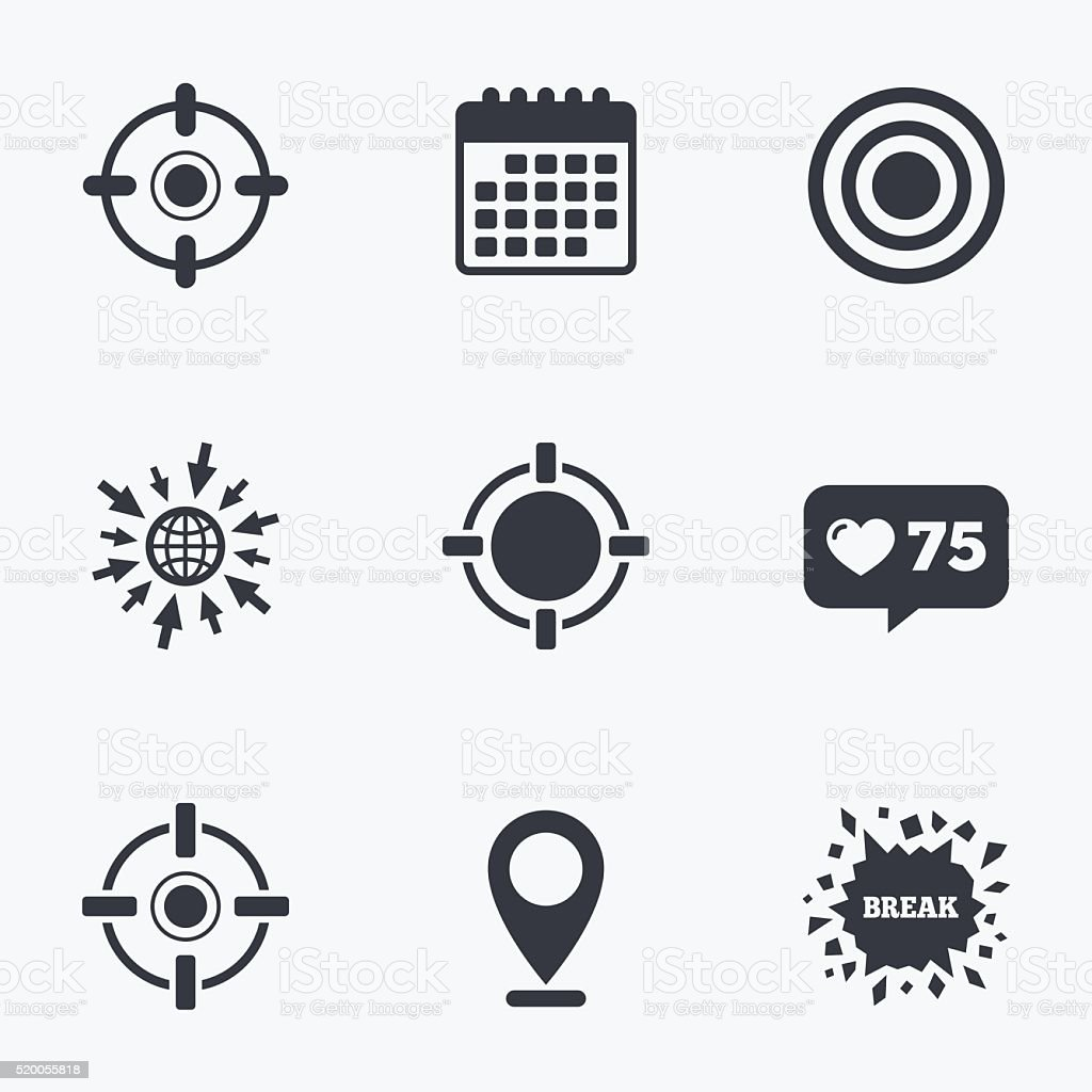 Crosshair icons. Target aim signs symbols. vector art illustration
