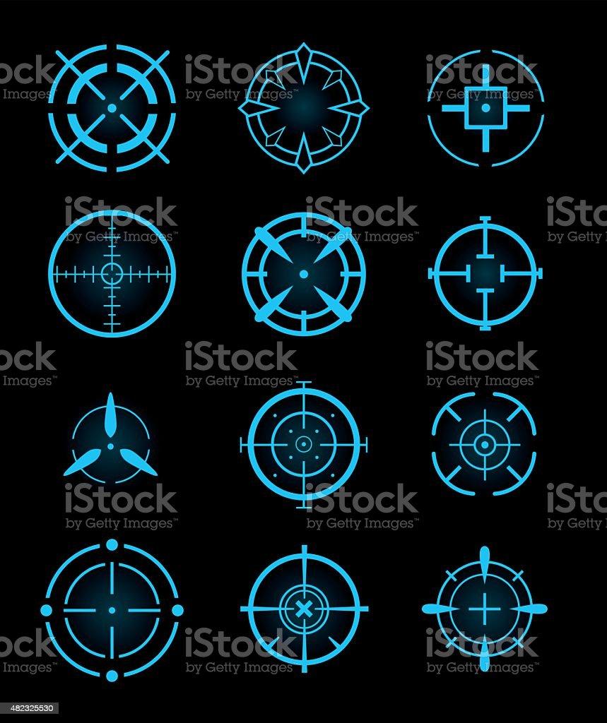 Cross-hair icons vector art illustration