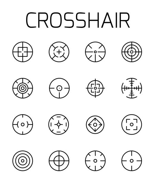 crosshair related vector icon set. - target australia stock illustrations