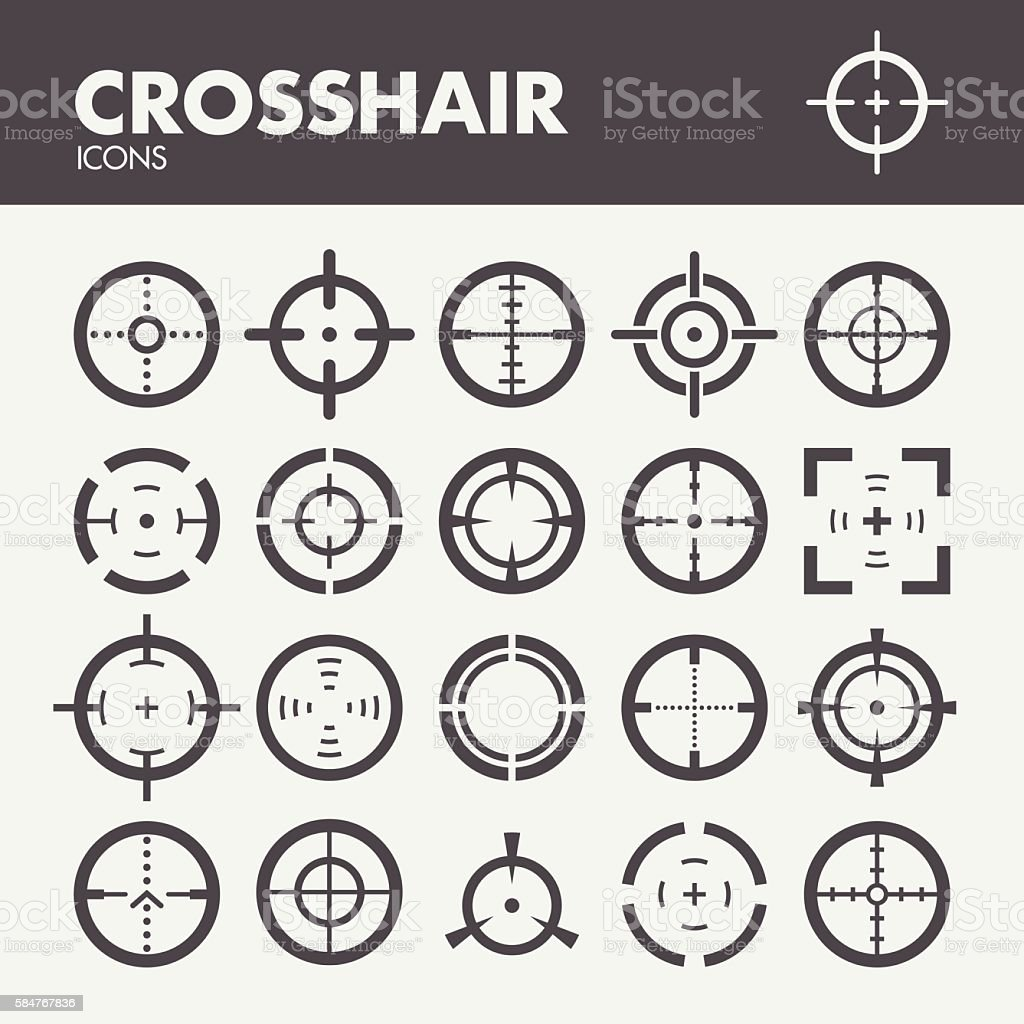 Crosshair. Target and focus symbols vector art illustration