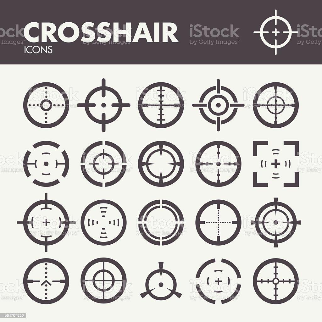 Crosshair. Target and focus symbols vector art illustration
