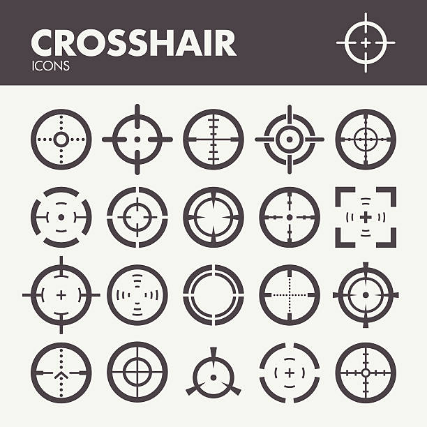 stockillustraties, clipart, cartoons en iconen met crosshair. target and focus symbols - gun shooting