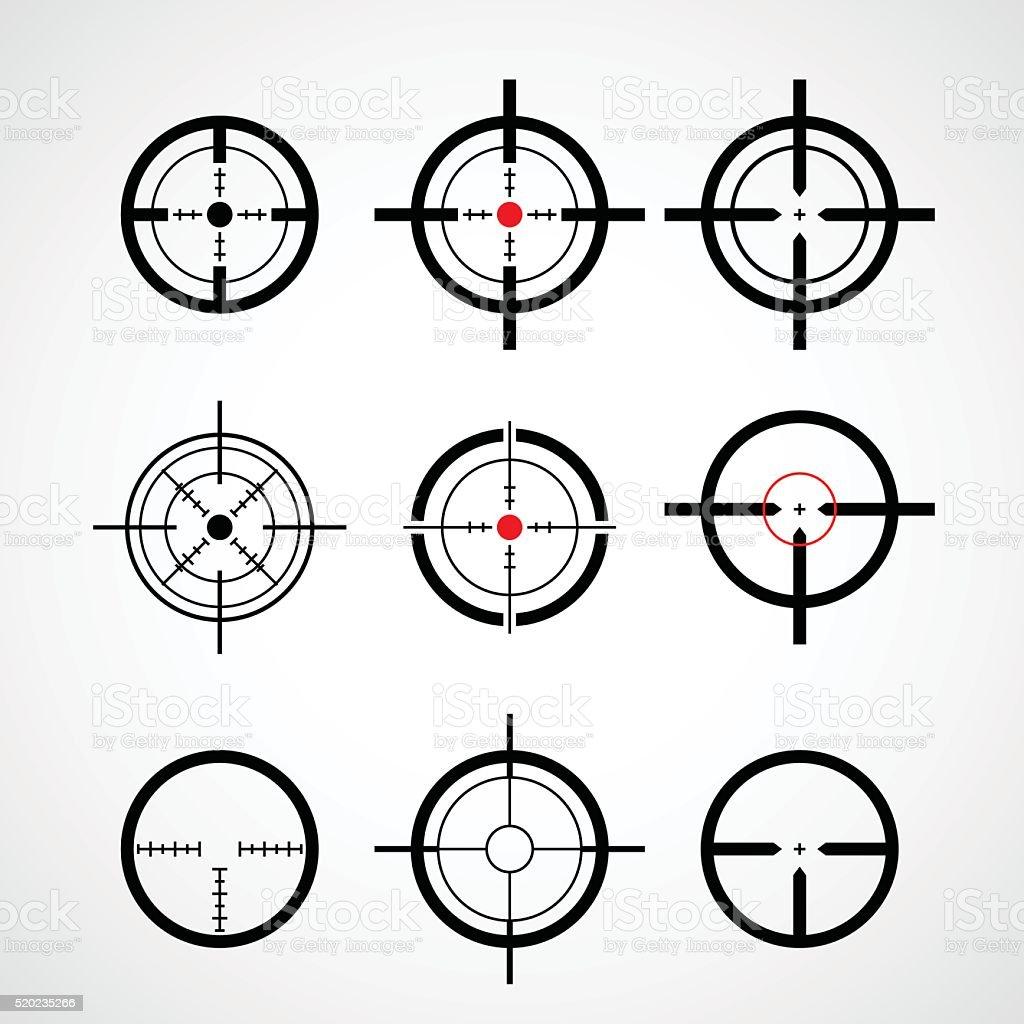 Crosshair (gun sight), target icons set vector art illustration