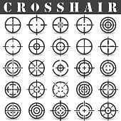 Crosshair. Icons set in vector on a white background with a shadow