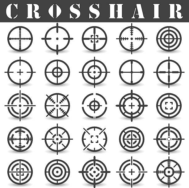 stockillustraties, clipart, cartoons en iconen met crosshair - gun shooting