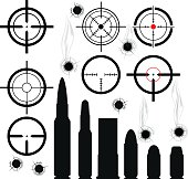 Crosshairs (gun sights), bullet cartridges and bullet holes