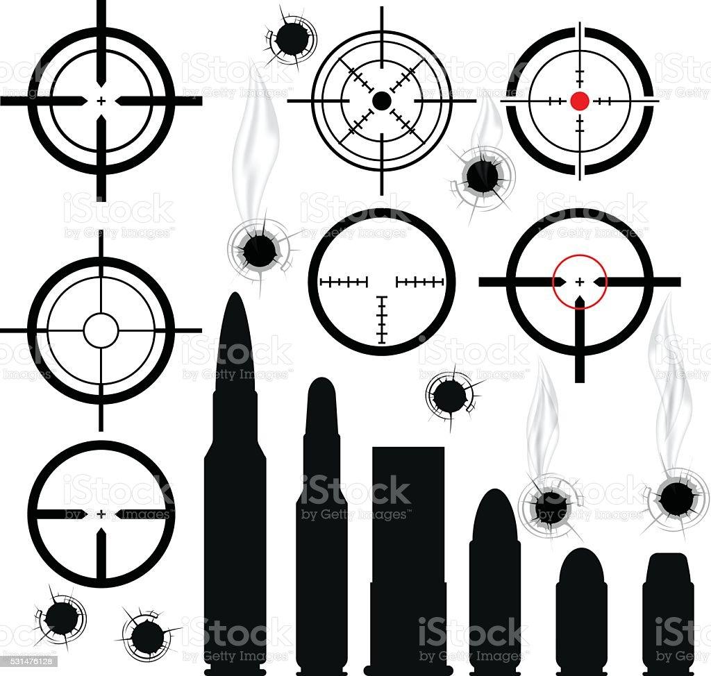 Crosshairs (gun sights), bullet cartridges and bullet holes vector art illustration