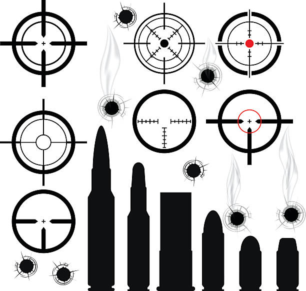 stockillustraties, clipart, cartoons en iconen met crosshairs (gun sights), bullet cartridges and bullet holes - gun shooting