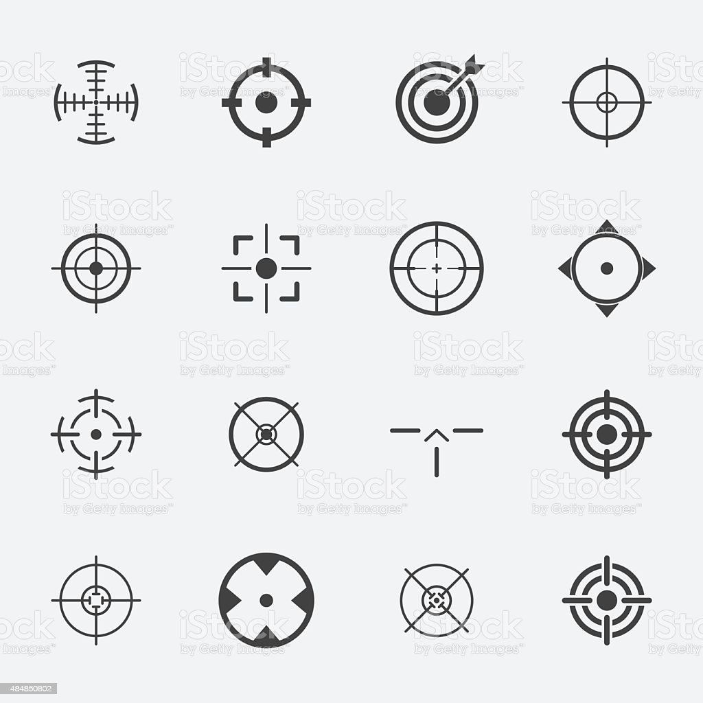 crosshairs icon set. royalty-free crosshairs icon set stock illustration - download image now