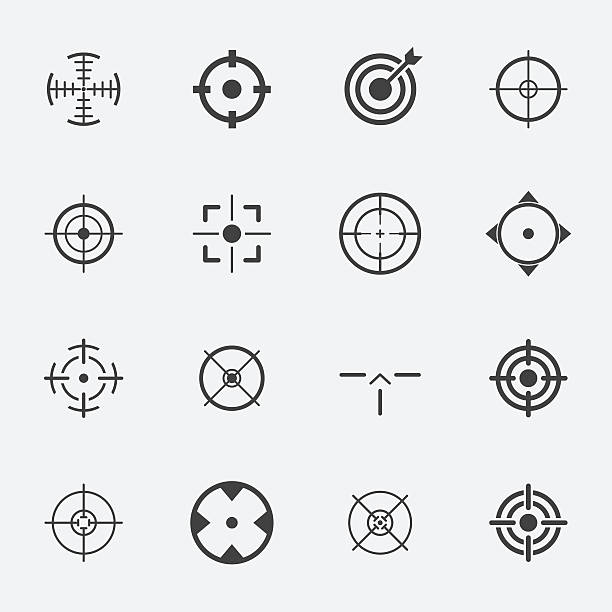 crosshairs icon set. crosshairs icon set. focus stock illustrations