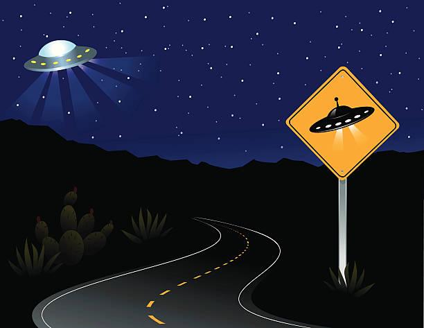 stockillustraties, clipart, cartoons en iconen met ufo crossing and alien spacecraft - arizona highway signs