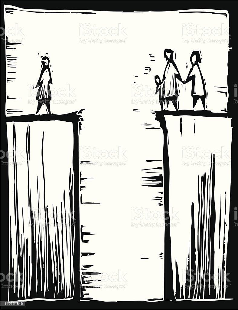 Crossing the Crevasse vector art illustration