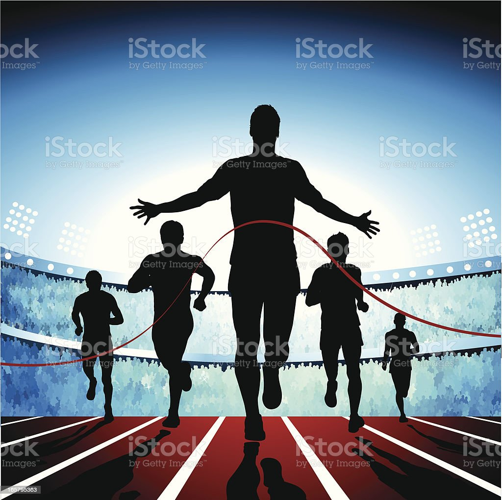 Crossing the finish line vector art illustration