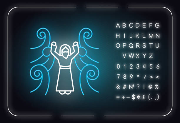 Crossing the Red sea Bible story neon light icon. Moses prophet. Parted water. Egyptians rescue. Biblical narrative. Glowing sign with alphabet, numbers and symbols. Vector isolated illustration Crossing the Red sea Bible story neon light icon. Moses prophet. Parted water. Egyptians rescue. Biblical narrative. Glowing sign with alphabet, numbers and symbols. Vector isolated illustration moses religious figure stock illustrations