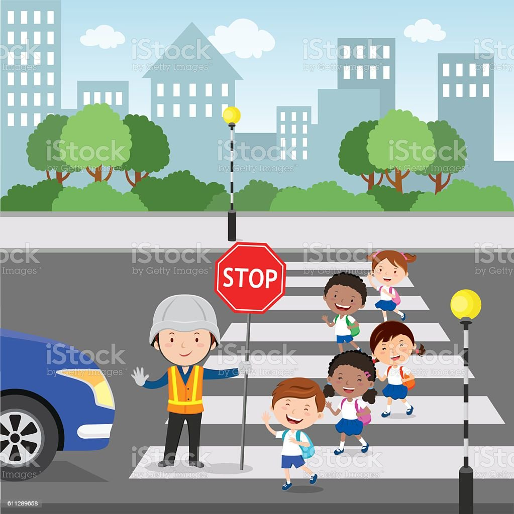Crossing the road vector art illustration