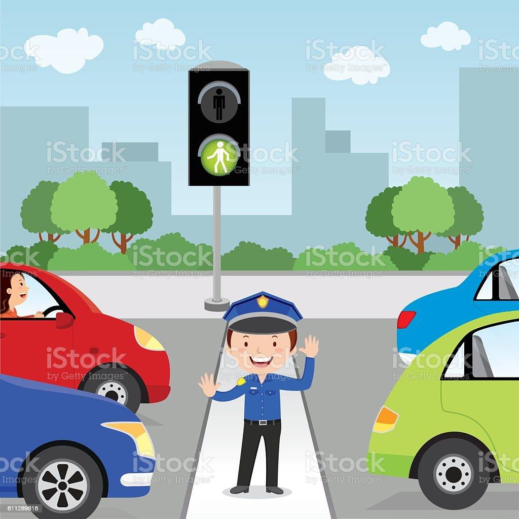 Crossing the road vector art illustration