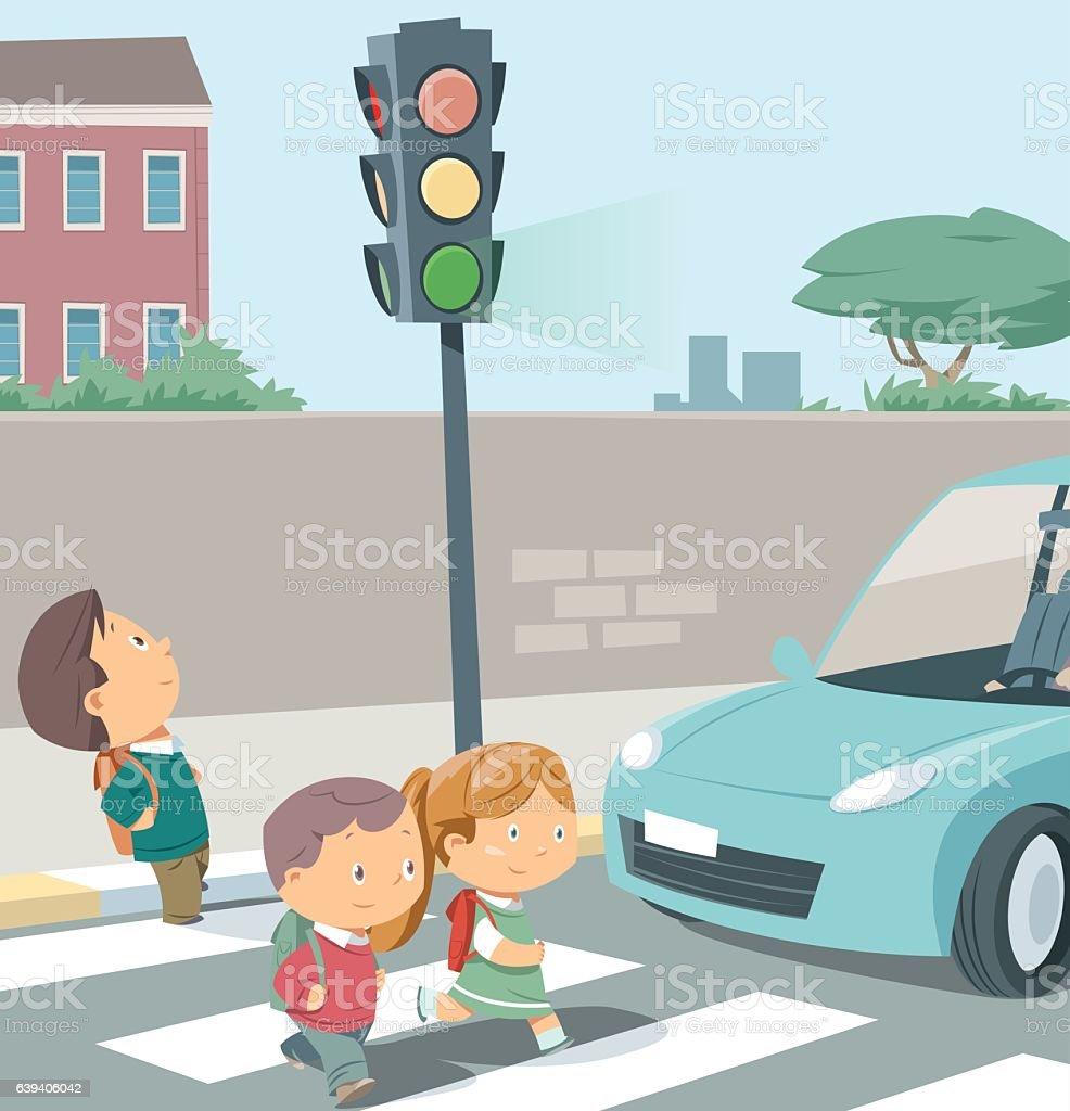Crossing the road. vector art illustration