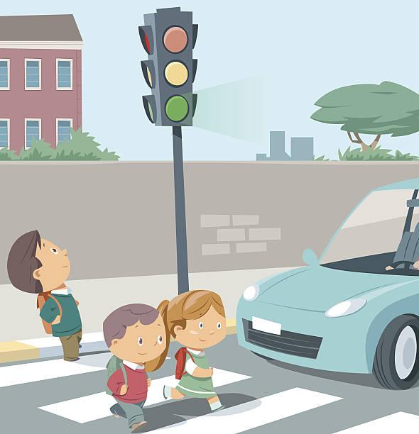 illustrazioni stock, clip art, cartoni animati e icone di tendenza di crossing the road. - city walking background