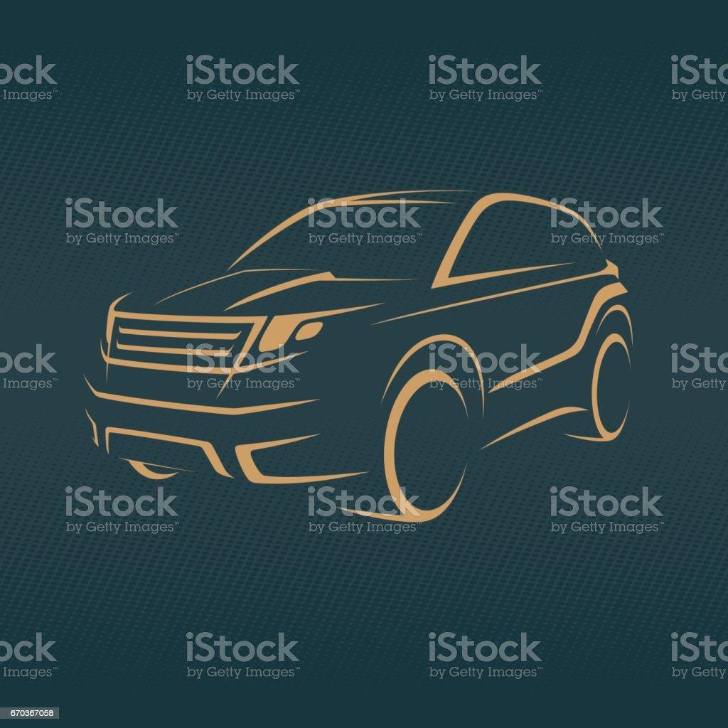 crossover, offroader car sketch vector art illustration