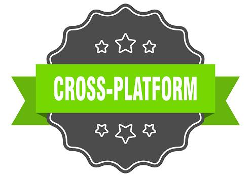 cross-platform label. cross-platform isolated seal. sticker. sign