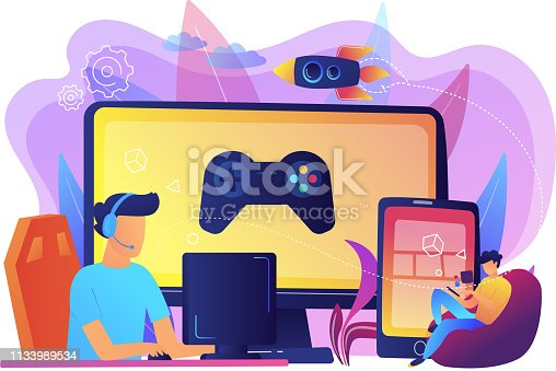 Gamers play video game on different hardware platforms. Cross-platform play, cross-play and cross-platform gaming concept on white background. Bright vibrant violet vector isolated illustration