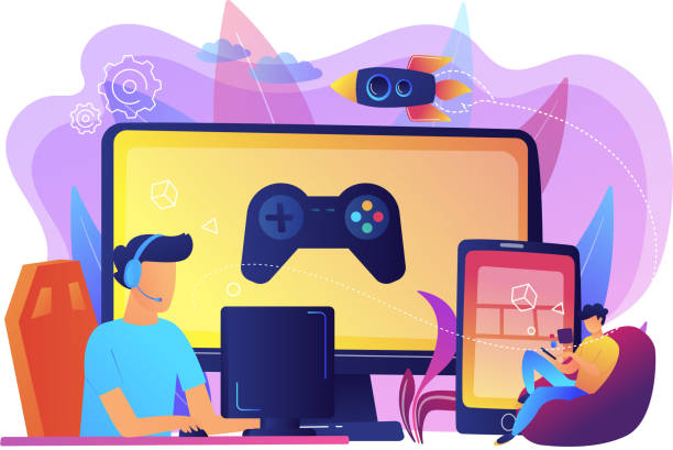 Cross-platform play concept vector illustration. Gamers play video game on different hardware platforms. Cross-platform play, cross-play and cross-platform gaming concept on white background. Bright vibrant violet vector isolated illustration gambling stock illustrations