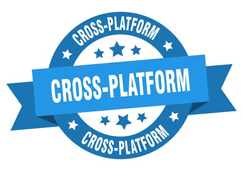 cross-platform round ribbon isolated label. cross-platform sign