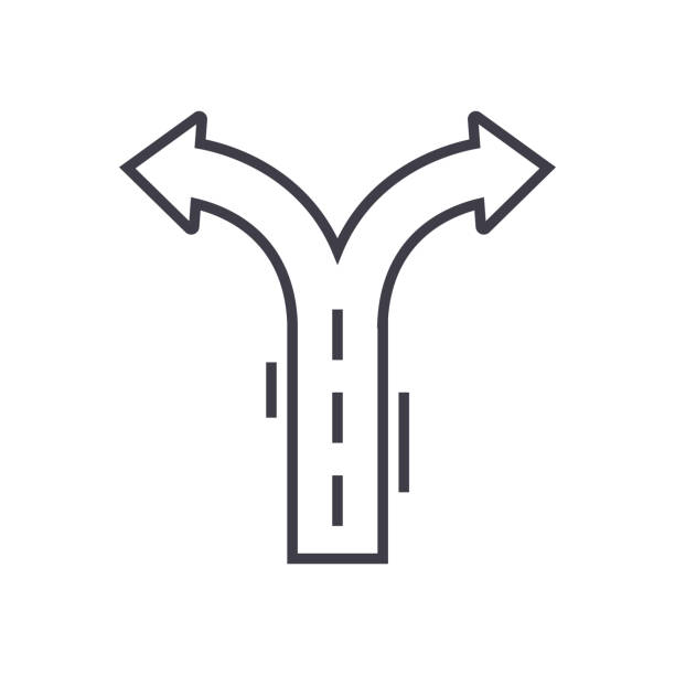 flèches de carrefour vector icône ligne, signe, illustration sur fond, traits modifiables - Illustration vectorielle