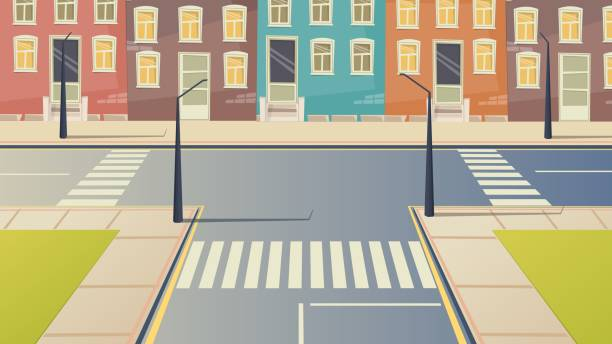 illustrazioni stock, clip art, cartoni animati e icone di tendenza di crossroad cartoon street urban landscape. road city crosswalk background illustration. - marciapiede