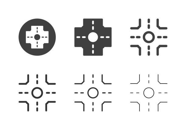 stockillustraties, clipart, cartoons en iconen met crossroad icons-multi-serie - rotonde kruispunt