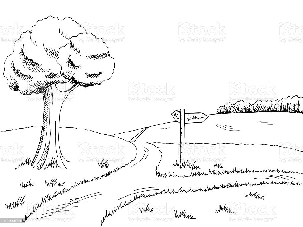 Crossroad pathway graphic art black white landscape illustration...